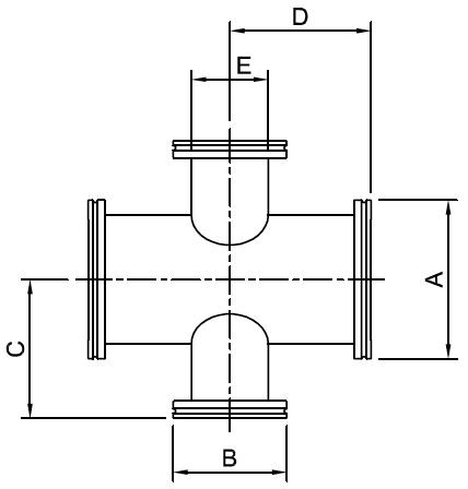 ISO Reducing 4 Way Crosses, Stainless Steel