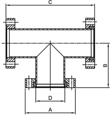 CF 4 Way Crosses, 2 Flanges Rotatable