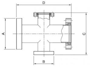 cf 4 way reducing crosses 2 flanges rotatable